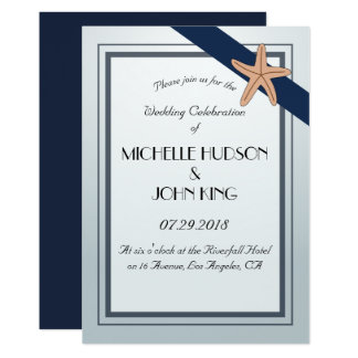 Seeseemann-Strand-Marine-Hochzeits-Einladung Karte