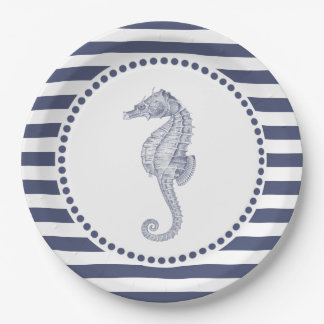 SeeSeepferd der marine-blauen Streifen-| Pappteller