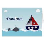 SeeSegelboot-Baby-Babyparty danken Ihnen Mitteilungskarte