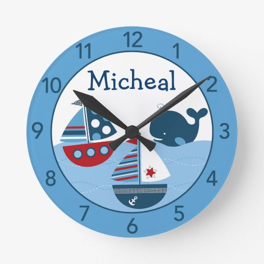 seesegelboot personalisierte kinderzimmer wand uhr runde wanduhr zazzle. Black Bedroom Furniture Sets. Home Design Ideas