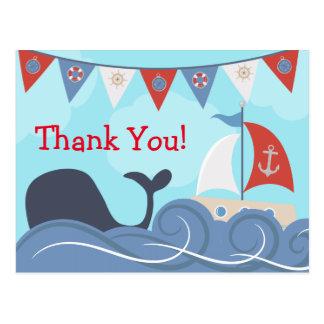 SeeSegelboot-Strand-Ozean-Wal danken Ihnen Postkarte