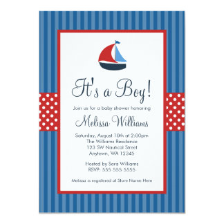 SeeSegelboot Stripes Babyparty-Einladungen Karte