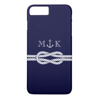 Seeseil und Anker-Monogramm in der Marine iPhone 8 Plus/7 Plus Hülle