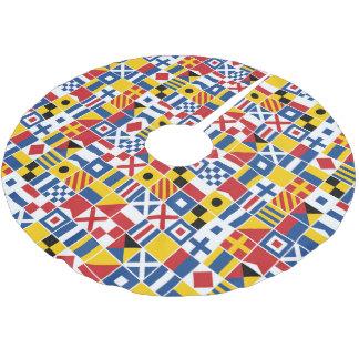 Seesignal-Flaggen-Muster Polyester Weihnachtsbaumdecke