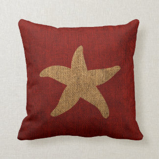 SeeStarfish in rustikalem Rotem und Rück Kissen