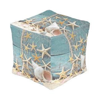 Seestarfish-und Fischer-Netz Kubus Sitzpuff