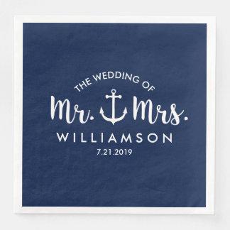 Seestrand-Hochzeits-Marine-Blau-Anker-Gewohnheit Papierserviette
