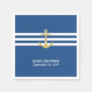 Seestreifen-Goldanker-Marine-Blau-Babyparty Papierserviette