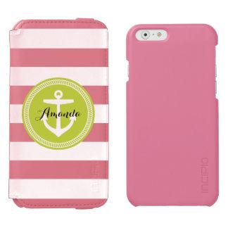 Seestreifen und Anker-Monogramm Incipio Watson™ iPhone 6 Geldbörsen Hülle