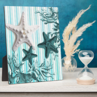 Seestreifenaqua Seashells-Blau Starfish Fotoplatte