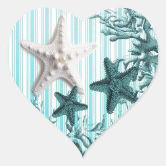 Seestreifenaqua Seashells-Blau Starfish Herz-Aufkleber