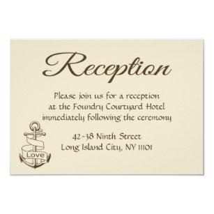 Seetan Hochzeits Empfangs Schiffs Anker Brown Einladung