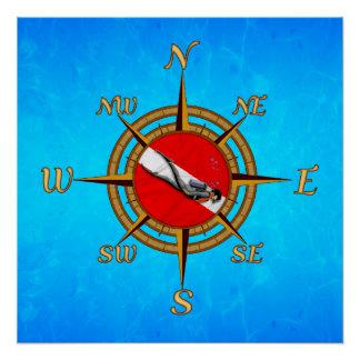 Seetauchen-Kompass Poster