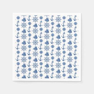 Seethema-Anker-Blau und Weiß Papierservietten