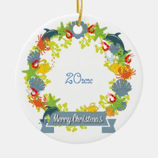 Seethema-WeihnachtsKranz-Verzierung - Küsten Keramik Ornament