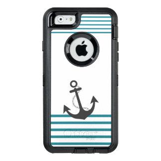 SeeTürkis-weißer Streifen-Anker-Entwurf OtterBox iPhone 6/6s Hülle