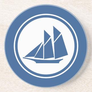 SeeUntersetzer des blauen Schooner-Segelboots Getränkeuntersetzer
