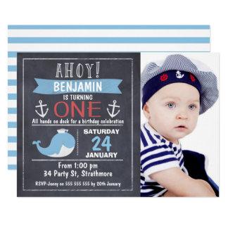 Seewal-Tafel-1. Geburtstags-Einladung Karte