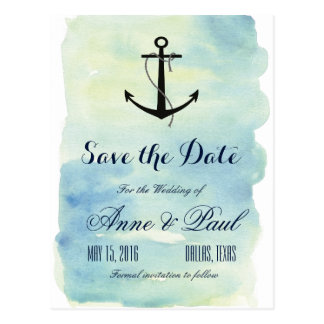 Seewatercolor Save the Date Postkarte