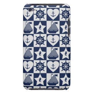 Seeweißes kariertes des marineblaus Case-Mate iPod touch case