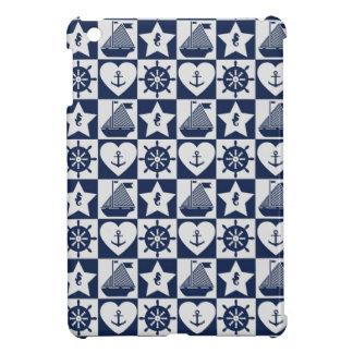Seeweißes kariertes des marineblaus iPad mini hülle