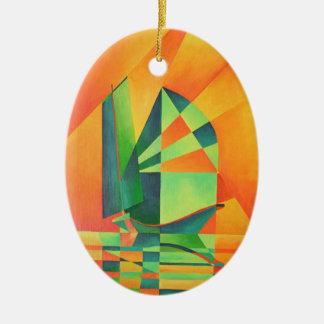 Segel am Sonnenaufgang Ovales Keramik Ornament