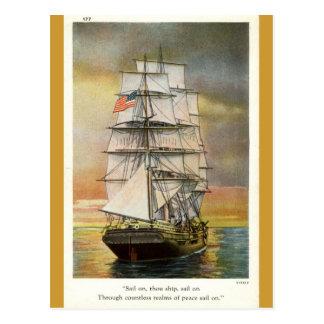 Segel auf Thou-Schiff Vintages 1926 Postkarte
