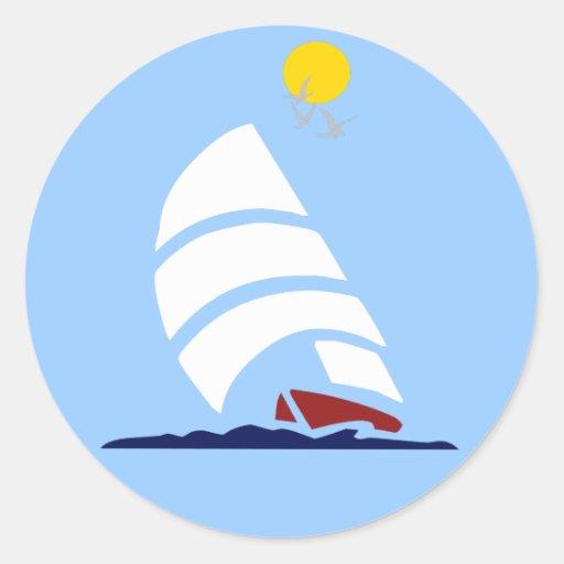 Segel-Boot Runde Aufkleber
