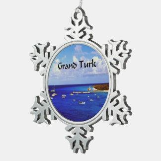 Segel-Boote onGrand Türke Schneeflocken Zinn-Ornament