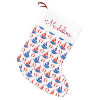 Segel-Boots-Muster | addieren Ihren Namen Kleiner Weihnachtsstrumpf