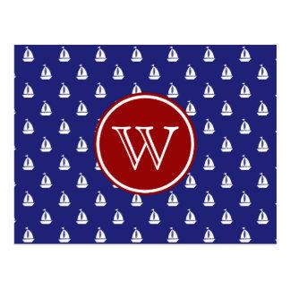 Segel weg auf blauem und rotem postkarten