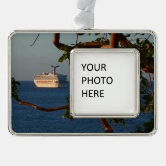 Segel weg Kreuzfahrt-Ferien-der Fotografie an des Rahmen-Ornament Silber