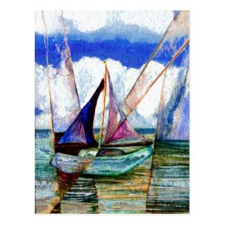 Segelboot-abstrakte blauer Himmel-flaumige Wolken Postkarte