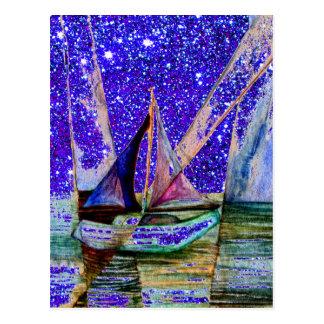 Segelboot-abstrakter blauer lila postkarte