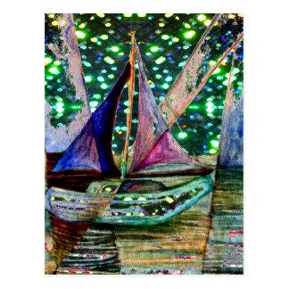 Segelboot-abstrakter glänzender Licht-Hintergrund Postkarte