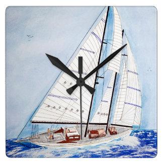 Segelboot auf Hochsee in der Aquarellkunst Quadratische Wanduhr