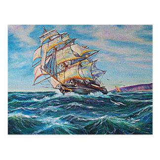 Segelboot auf raues Wasser-Ölgemälde Postkarte