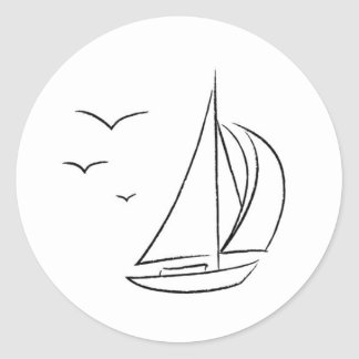Segelboot-Aufkleber Runder Aufkleber