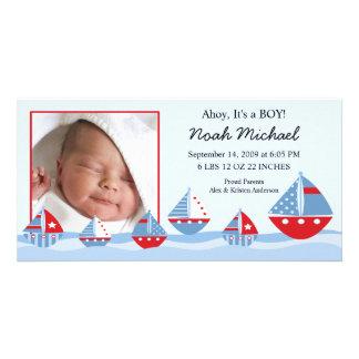 Segelboot-Baby-Geburt Annoucement Individuelle Foto Karten