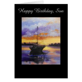 Segelboot Geburtstagskarte für Sohn Grußkarte