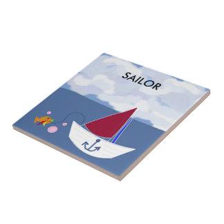 Segelboot heraus auf dem Ozean Fliese