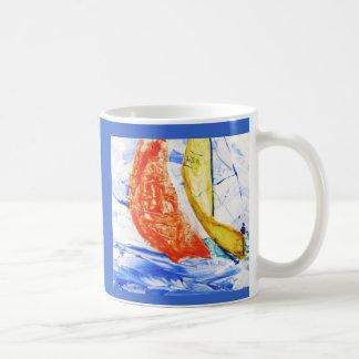 Segelboot-laufende Reise-Tassen-Vorlagen-Kunst Kaffeetasse