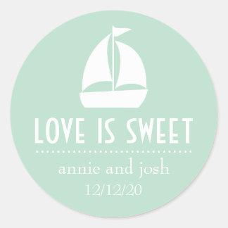 Segelboot-Liebe ist süße Aufkleber (weises Grün)