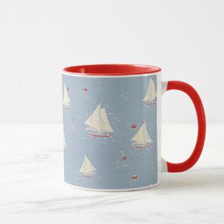 Segelboot-Muster Tasse