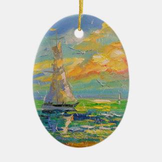 Segelboot Ovales Keramik Ornament