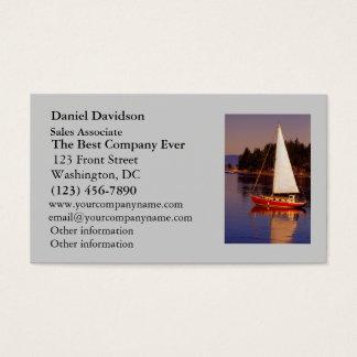 Segelboot-Segeln am Sonnenuntergang-Foto Visitenkarte