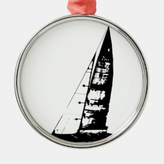 Segelboot-Silhouette Silbernes Ornament
