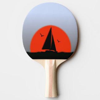 Segelboot-Sonnenuntergang Tischtennis Schläger