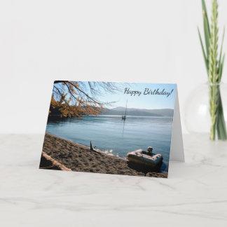 Segelboot-Strand-alles- Gute zum Geburtstagkarte