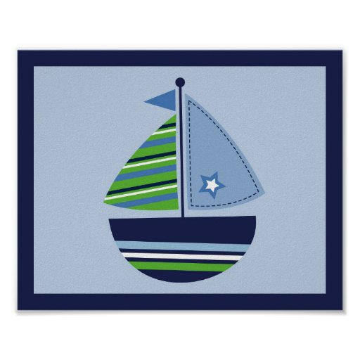 segelboot transport jungen kinderzimmer wand kunst poster zazzle. Black Bedroom Furniture Sets. Home Design Ideas